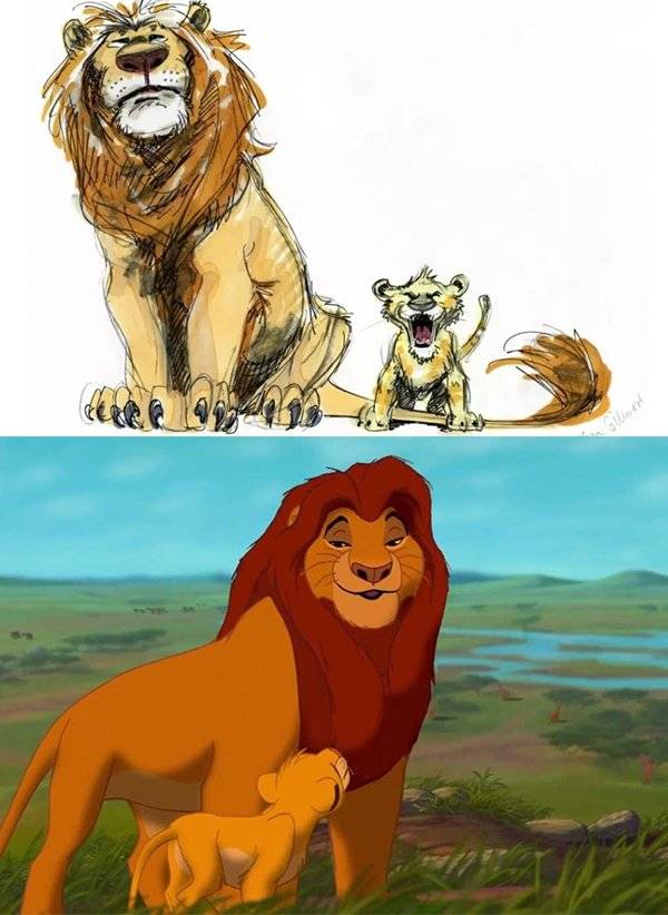 premiers-croquis-personnages-disney-simba-mufasa