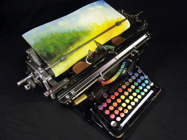 peinture-avec-une-machine-ecrire