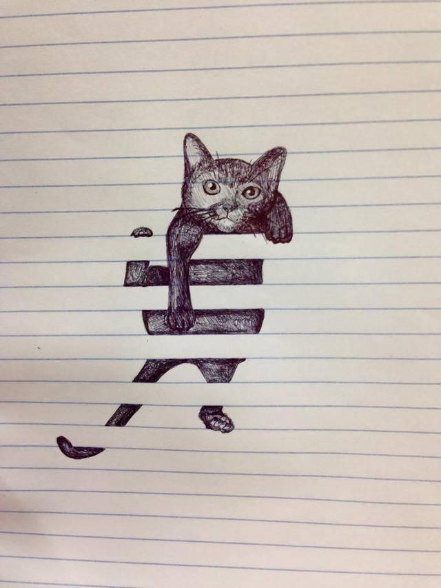 chat-grimpe-lignes-feuille