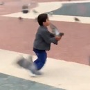Un enfant lance des pigeons sur une fille