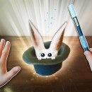 Un magicien essaye de sortir un lapin de son chapeau