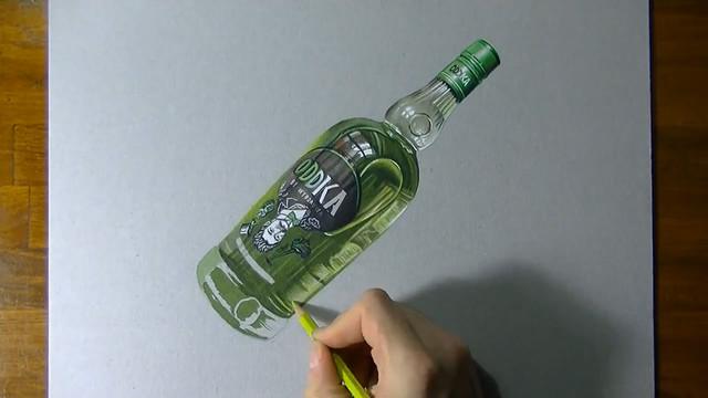 Dessin Realiste D Une Bouteille De Vodka