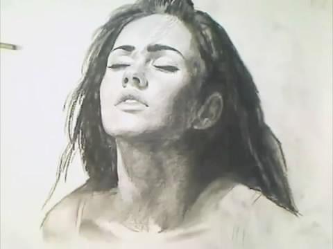 Megan Fox Dessinée Au Fusain